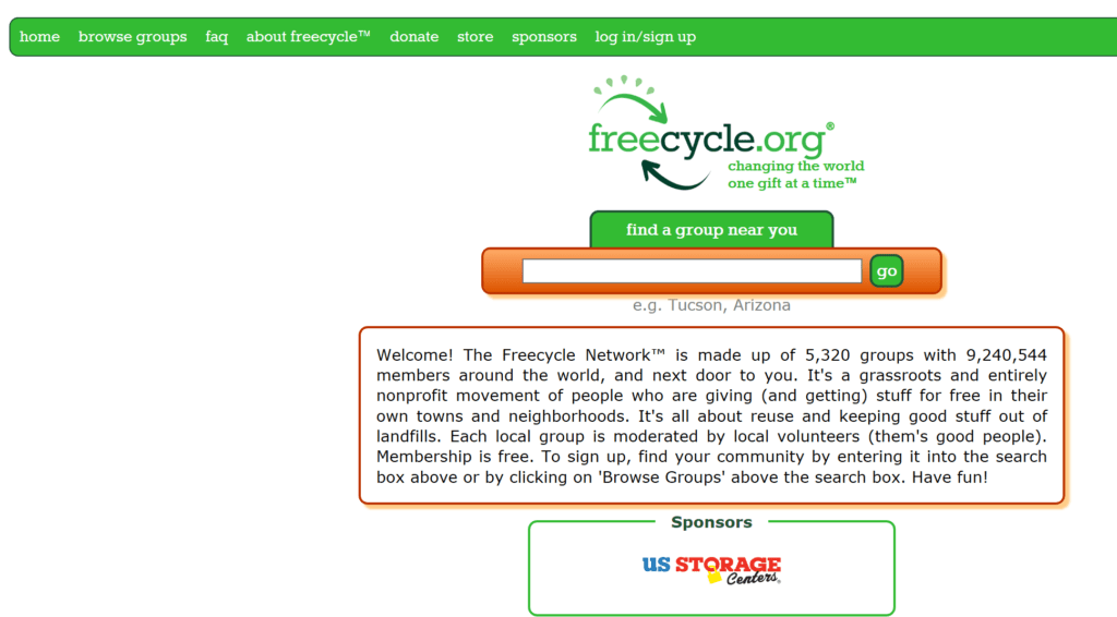 Use FreeCycle to acquire or give away used treasures