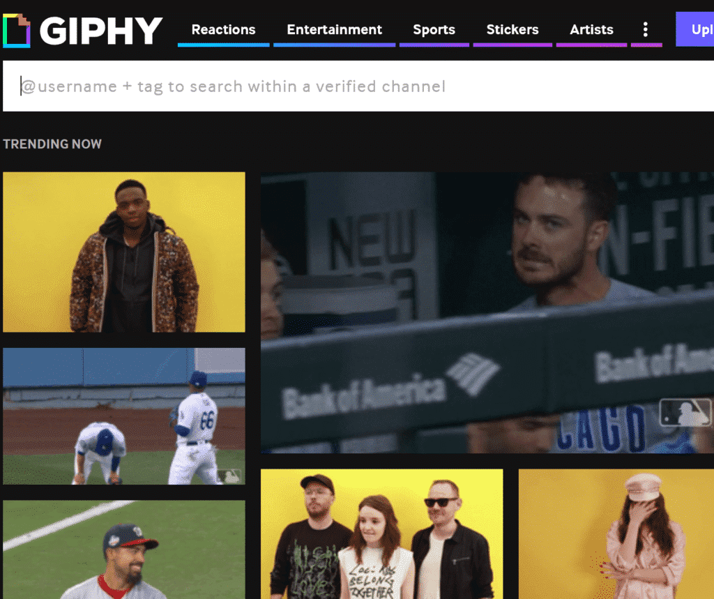 Find the perfect GIF with the Giphy website