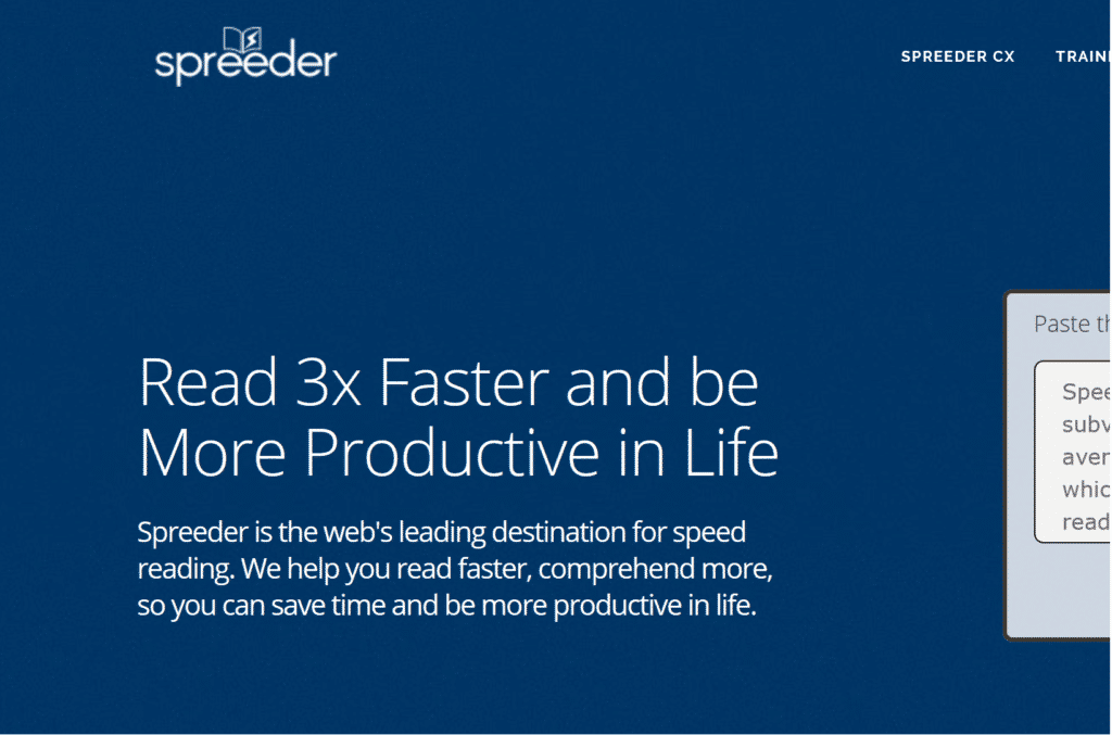 Spreeder as Best Productivity Website